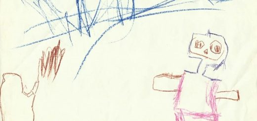Obrázek bagru, pána a hlíny, kreslený dítětem